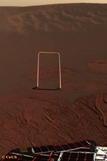 First color picture from Mars rover, 'Opportunity'.
